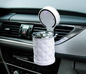 Accesorios para automóviles Portátil Luz LED Cenicero para autos Cigarrillos universales Cilindro Soporte Car Styling Mini Car Interior Supplies (Retail)