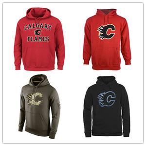 Calgary Chamas Mens Camisola de Saudação para Serviço Sideline Therma Desempenho Pullover Hoodie Vermelho Preto Hockey Jersey Frete Grátis