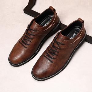 Uomini di marca di scarpe di alta qualità Oxfords British Style Uomo Scarpe di vestito di cuoio genuini Business Flats formali * HMH1906