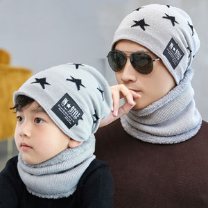 Winter Knit Beanie Scarf Set Pentagram adultos niños Warm Soft Cap Balaclava Plus Velvet Thick Hat Bonnet Male LJJM2370-2