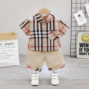 Boy Baby Shirt Shorts Outfits Summer Kids Plaid Short Sleeve Shirt + Shorts 2pcs Suits 2020 New Children Plaid Casual Clothing Sets S262