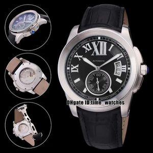 YENİ kaliteli Calibre de W7100041 Otomatik Erkek Gümüş vaka siyah kadran siyah deri kayış 43mm Gents moda tarihi İzle saatler saatler