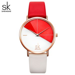 Relojes de Mujer Shengke pulsera de cuero moda reloj de señoras bağbozumu Düzensiz reloj Mujer Bayan Kol Saati Montre femenino1