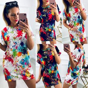 Elbiseler Kadın Kravat Boyalı Elbise Yaz Rahat Kısa Kollu Pamuklu Tshirt