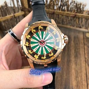 Version haute RDDBEX0398 Chevalier d'or Cadran d'or machines automatique de cas en acier inoxydable Mouvement Mens Watch bracelet en cuir noir Montres