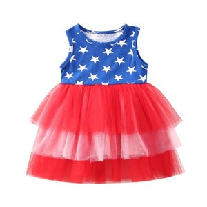 Independence Day Baby Girls Dress Summer Toddler Baby Girl Kids Mesh Tutu Layered Dress Sleeveless Party Pageant Sundress 6M-4Y
