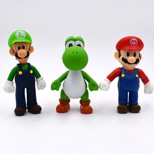 13см 3шт / Set Super Mario Bros Луиджи Марио Йоши ПВХ Действие Цифры игрушки Бесплатная доставка