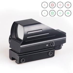 Bijia Tactical Reflex 적색 / 녹색 레이저 4 레티클 홀로그램 투영 된 도트 범위 에어건 시력 사냥 11mm / 20mm 레일 MountT190724