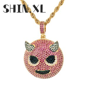 Hip Hop Glacé Rose Zircon Little Devil collier pendentif avec corde chaîne chaîne diamant Tennis