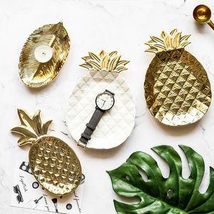 El oro blanco de la hoja de piña placa de cerámica decorativa Snack-Porcelana caramelo baratija de la joyería del plato placa de almacenamiento Platos Vajilla Vajilla Plat