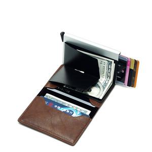 Monedero de calidad superior de los hombres Bolsa de dinero Mini monedero masculino automático de la máquina de tarjetas RFID de aluminio titular de la cartera Pequeño inteligente Monedero Vallet