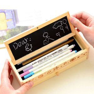Wooden Pencil Case 2 Layer Large Capacity Pen Holder with Black Board for Student School HUG-Deals