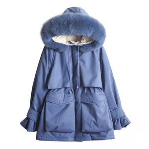 Real  Fur Collar 2019 Winter Jacket Women Down Parkas Female White Duck Down Jacket Female Hooded Thick Warm Loose Coat