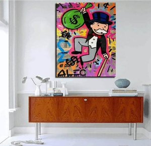 097# Alec Monopoly High Quality Handpainted & HD Print Graffiti Pop Wall Art Oil Painting Happy Jump On Canvas Home Decor Multi Sizes g118