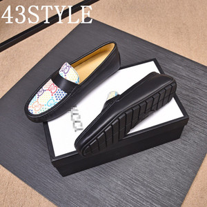 19FS 2020 Mens Shoes Leather luxurious Design Social Brans Adult Fashion Dress Genuine Leather Casual Men Driving Shoe Loafers Size 38-45