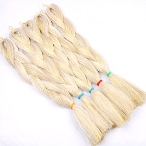 Nouveau style Jumbo synthétique Tresses cheveux mixtes bling bling Cheveux Tinsel Crochet Tressage synthétique Extensions cheveux