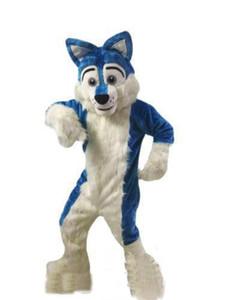 2019 fabrik direkt neue Blue Husky Hund Maskottchen Kostüm Cartoon Wolf hund Charakter Kleidung Weihnachten Halloween Party Kostüm