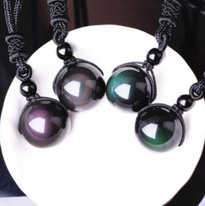 DHL Natural Stone Black Obsidian Rainbow Eye Beads Ball Transfer Lucky Love Pendants Necklaces For Women Men Couple lover Gift nx