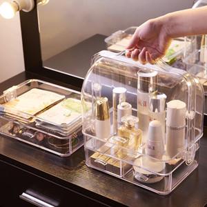 새로운 핫 화장품 저장 상자 투명 휴대용 서랍 바탕 화면 드레싱 테이블 스킨 케어 제품은 랙