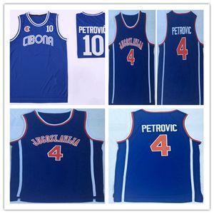 Men's Old Time Cibona Drazen Petrovic #10 Basketball Jersey Blue Navy Drazen Petrovic #4 Jugoslavija Yugoslavia Stitched Shirts S-XXL