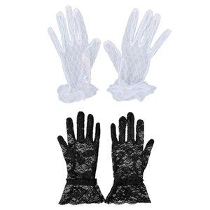2 Pair Short Lace Gloves:1 Pair Fashion Women Bridal Evening Wedding Party Gloves Black & 1 Pair White New Short Bridal Wedding