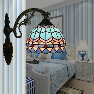 LED azul do Mediterrâneo Wall Lamp Quarto Luz Europeia Luz Espelho criativa lâmpada de cabeceira Corredor Stairway americano Retro Lâmpada de parede