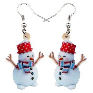 Acrílico Natal manchado Hat Scarf Snowman Brincos Dangle Gota Jóias Mulheres Menina adolescente Kid massa presente de aniversário Festival