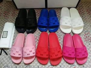 2019 mujeres de lujo de la moda de las sandalias de diapositivas de caucho deportes pisos zapatillas con cortar el logotipo en relieve bolsas de polvo de la caja