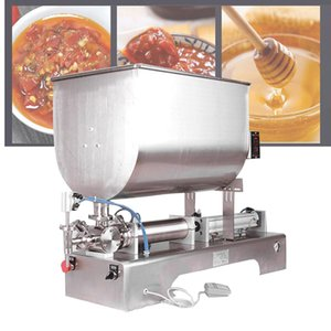 110V 220V stainless steel filling machine for tomato sauce bean paste with particles peanut butter pneumatic mixing filling machine