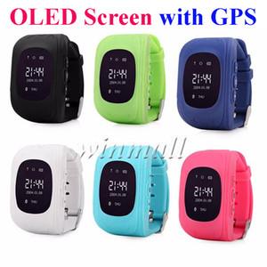 OLED q50 crianças gps tracker smart watch phone sim quad band gsm seguro sos chamada smartwatch para android ios