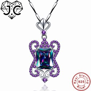J.C Women Butterfly Shape Luxurious Rainbow Amethyst & Sapphire Topaz Pendent Solid 925 Sterling Silver Necklace Fine Jewelry