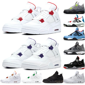 Nike air jordan Retro 4s Uomini scarpe da basket Quello che i 4 Chaussures all'ingrosso allevati FIBA ​​Cool Grey Loyal blu Ourdoor Mens Sneakers Trainers Sport
