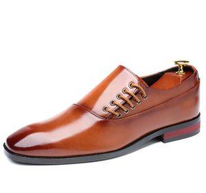 Mode Robe Hommes d'affaires Chaussures Nouveau classique en cuir pour homme Chaussures de Slip Mode Suits Chaussures à vêtent Oxfords Taille 37-48