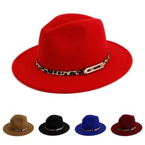 Tasarımcı Lüks Şapka Lady Bayan Panama Yün Kadınlar Trilby Derby Hat Leopard Deri Toka Cap Caps için geniş Brim Caz Fedora Şapka Keçe