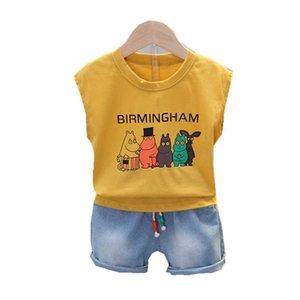 Summer Children Fashion Clothes Suit Kids Boy Girls Cartoon Vest Shorts 2Pcs sets Baby Casual Infant Clothing Toddler Sportswear