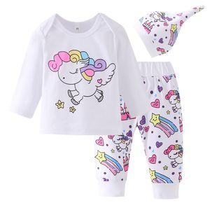 3 Pieces Newborn Infant Baby Girl Clothing Sets Infant 2019 Fashion Rainbow Cartoon Unicorn Tops+Pegasus Star Castle Pants+Hat