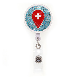 10pcs Red Drops Of Blood With Cross Retractable Round Shaped ID Badge Name Holder For Nurse Medical Accessories Badge Reels With Clip