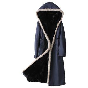 Real Rex Rabbit Fur Liner Parka Coat Female Winter Natural Mink Fur Hood Jacket Women 2020 Korean Long Warm Fur Tops Hiver 29151