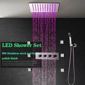 """3 Way 4 Handle Shower Mixer Água válvula 12"""" Praça 304 SS Color Change Rain Shower Head Banheiro Chuveiro LED Faucet Set"""