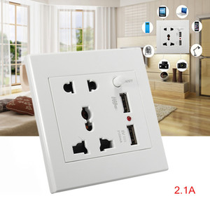 Smart Dual USB Port 5V 2100MA Hot Worldwide AC 110-250V Dual USB Port Electric Wall Charger Dock Socket Smart Power Plugs with switch