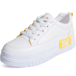 SWYIVY Casual Blanc Chaussures Femmes Plat blanc Sneakers 2020 printemps Chunky Sneakers Pour Femmes Med Talon Dames Chaussures De Mode Femme sneakers