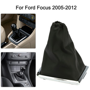 Freeshipping for Ford Focus 2 MK2 2005 2006 2007 2008 2009 2010 2011 New Black Car Gear Shift Knob Real Gaiter and Chrome Base