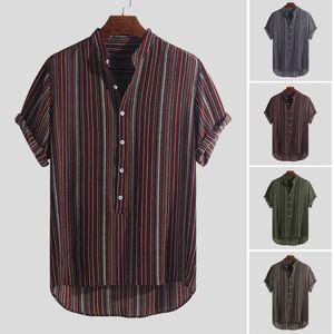 Para hombre verano de rayas Botones transpirable de manga corta Henley camisas ocasionales M-3XL clásico camisas de la manera de la personalidad causales