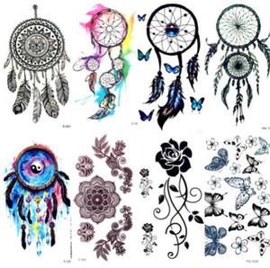 Aguarela Dream Catcher Tatuagem Temporária Mulheres Tatuagem Tribal Etiqueta Preto Dreamcatcher Falso Flash Tatoo Menina Ombro Do Corpo Do Braço