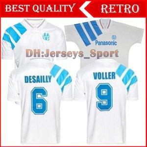1992 1993 Olympique Marseille Retro Gedenken Fußball-Hemd DESCHAMPS PAPIN BOLI DESAILLY Fußball-Jersey-VOLLER Marseille Fußball Jersey
