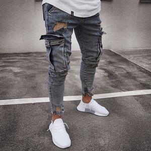Модельер Мужские джинсы Роскошные Брюки мужские осенние Марка Skinny Jeans с большим карманом Джентльмен Стиль Размер S-3XL Wholesales