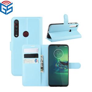 Para Moto E6 G8 Poder Lite de la PU del soporte del tirón carpeta de cuero de la cubierta del caso para Motorola G8 más G5