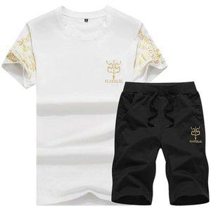 Men Set Clothing Fitness Skinny Tight Mens Suits Summer Short Sleeve Sportswear Slim Fit Elastic Clothing Men Sets Shirt+Shorts Pretty