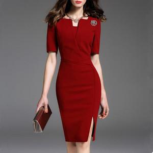 2019 del vestito dalle donne manica corta Vintage lavoro Elegante Abiti Affari Abiti formali Office Lady Female Dress Plus Size 4XL 5XL