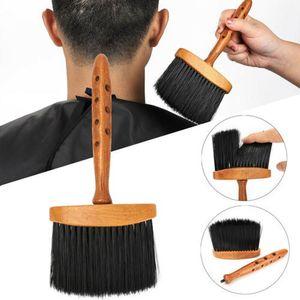 Maniglia di legno molle del collo viso Duster pennello barbiere capelli di pulizia Hairbrush Depolveratore parrucchiere Cutting Tool
